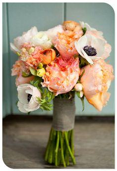 Cheerful wedding bouquet- poppy, orange...