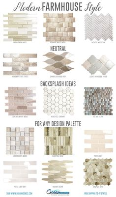 These stunning and neutral farmhouse backsplash ideas will compliment any kitchen design or bathroom design. In light, airy and neutral colors -adding countertops, appliances or accessories will be a breeze. Click and order whichever inspires you! Farmhouse Kitchen Decor, Kitchen Redo, Farmhouse Design, Home Decor Kitchen, Kitchen Backsplash, Home Kitchens, Modern Farmhouse, Kitchen Remodel, Backsplash Ideas
