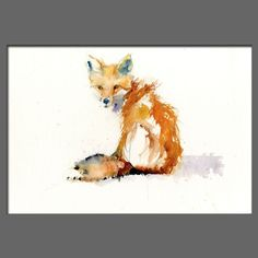 JEN BUCKLEY Original LITTLE RED FOX  Watercolour PAINTING signed large A3. This little fella up for auction.