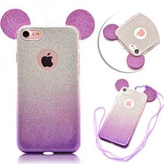 iPhone SE 5 5S Case CoverTYoung Ultra Thin Slim Transparent Soft TPU Flexible Silicone Bling Glitter Sparkle Mickey Mouse Ear Cover AntiScratch with Lanyard Strap for iPhone SE 5 5S  Purple >>> More info could be found at the image url.