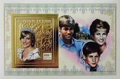"""Princess Diana """"Royal Wedding"""" Gold Commemorative Postage Stamp Sheet Issued by Chad, Diana - Princess of Wales 1961 - 1997."""