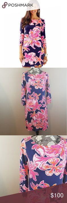 "Lilly Pulitzer Bright Navy Via-Sunny Dress Stunning  Lillyputs are right maybe via Sunny dress.  In absolutely perfect condition used once.  Simply a must have for any Lilly Pulitzer  fans closet Bust Roughly 16"" A01 Lilly Pulitzer Dresses"