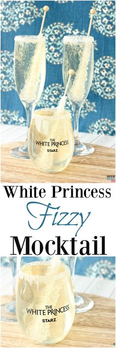 White Princess fizzy mocktail recipe! Non-alcoholic fizzy mocktail with a rock candy sucker in it!