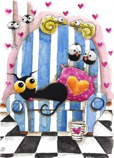 Original watercolor painting whimsical stressie cat crow heart hopeless romantic #IllustrationArt