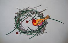petit à petit, l'oiseau fait son nid Rooster, Mandala, Graphics, Paintings, Sculpture, Tattoos, Drawings, Nest, Graphic Design