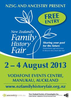 New Zealand's Family History Fair, August 2-4, 2013