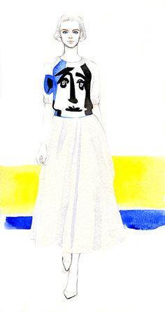 Picasso-like  intarsia sweater from Jil Sander.  source:Teri Chung Illustrations.