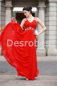 Robe de bal de promo 2014 rouge romantique V col décoration perlée