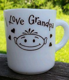 I Love Grandpa Oven Proof Vtg Milk Glass Coffee Tea Mug Cup Child Face Hearts