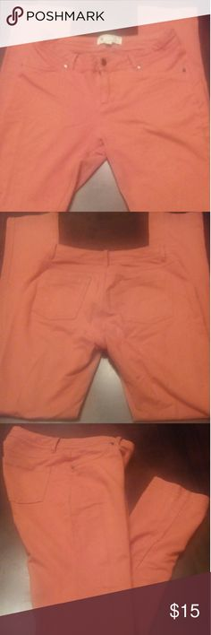 Burnt Orange Jeggings Cute burnt Orange jeggings with lots of stretch. Tag says size large but runs small. Feels more like a medium. Can fit a size 8-10 .  Front faux pockets Two back pockets. Belt loops. Zippered closure Jeans Skinny