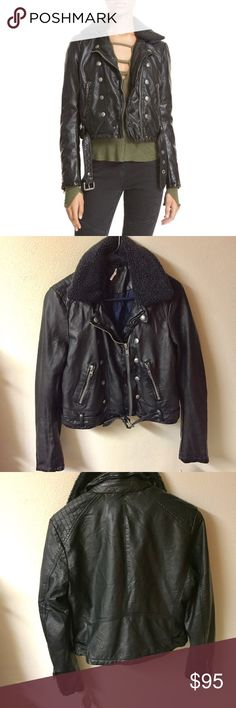 Free People Asheville Faux Leather Jacket Beautiful black faux leather jacket from free people. Fur is detachable from the top NWT Free People Jackets & Coats