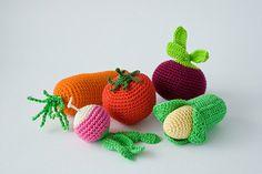 Crochet Baby Rattles Veggies, Set of 5 - beet, corn, radish,  tomato, carrot - ecofriendly crochet toys