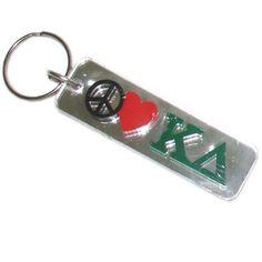 Kappa Delta Sorority Peace Love Keychain