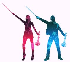Contemporary artwork silhouettes of the FUSE violin band Linzi Stoppard and Ben Lee by Danni