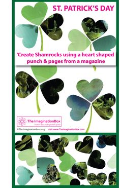 Make these simple shamrocks using old magazines and a heart shaped punch for St. Patrick's Day. Great for bunting, cards, and window decorations