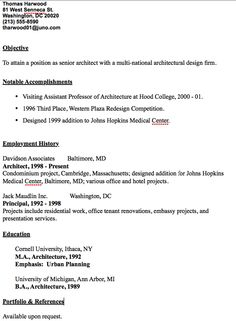 Senior Architect Resume Sample   Http://resumesdesign.com/senior Architect