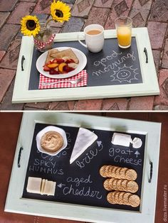 DIY Decorative Trays - Decorative Tray - Ideas of Decorative Tray - DIY Decorative Trays Tons of Ideas & Tutorials! Including this lovely diy chalkboard tray from 'so you think you are crafty'. Cabinet Door Crafts, Old Cabinet Doors, Cabinet Decor, Chalkboard Paint Kitchen, Diy Chalkboard, Chalkboard Drawings, Chalkboard Lettering, Kitchen Paint, Diy Tableau Noir