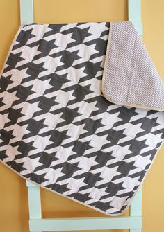baby quilt charcoal gray houndstooth GEOMETRIC PETUNIAS blanket crib nursery decor shower gift newborn photo prop hipster modern