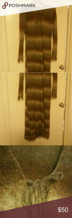 $drop! Boho Vintage fringed choc/grey creamduster Super boho ! Vintage fringed duster to shin length sweater  depends how tall you are. med mohair mix  see tags for material. Lovely.   its a vintage twinning or something like that it says.  See my many boots to go with this duster! ! Pic updates recently due to lighting. First few are exact coloring. 3 colors! :) Rare 0 Sweaters Cardigans