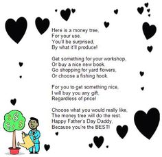 "A cute fathers day poem titled ""The Money Tree"" Thank You Verses, Poem Titles, Fathers Day Poems, Money Trees, Birthday Cards, Birthday Ideas, Go Shopping, Teacher Gifts, New Books"
