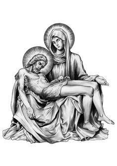 Jesus e Maria Catholic Tattoos, Religious Tattoos, Christ Tattoo, Jesus Tattoo, Catholic Art, Religious Art, La Pieta, Jesus Drawings, Mary Tattoo