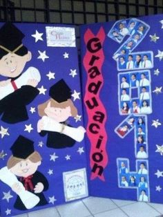 Risultati immagini per decoracion graduacion infantil Graduation Crafts, Kindergarten Graduation, Graduation Day, School Decorations, Graduation Invitations, Orla Infantil, Kindergarten Portfolio, Diy And Crafts