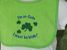 Baby Bib St Patricks Day Green Cute Irish by FiddlersCreekGifts, $5.00