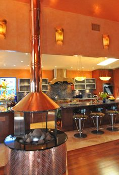 Round Fireplace Hoods | 32 fireplace Tropical Kitchen Design Photos