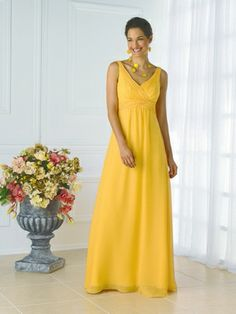 Wedding Dresses, Bridesmaid Dresses, Prom Dresses and Bridal Dresses Christina Wu Bridesmaid Dresses - Style - Christina Wu Celebration Bridesmaid Dresses. Tank style chiffon gown with rouging on bodice.Shown In: Maize Fabric: Chiffon Yellow Bridesmaid Dresses, Bridesmaid Dress Styles, Bridesmaid Ideas, Dressy Dresses, Prom Dresses, Bride Dresses, Long Dresses, Mellow Yellow, Bright Yellow