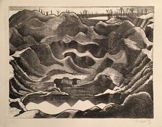 NASH, PAUL (1889-1946), 'THE MINE CRATER, HILL 60, YPRES SALIENT', LITHOGRAPH, 1917. From the edition of 25 proofs. Printed on watermarked 'Antique Deluxe' paper.  Paul Nash joined the Artists Rifles in September 1914, he initially stayed in London but finally began officer training in August 1916 and was sent to the Western Front in February 1917. He fought here until 25 May 1917 when he fell and broke a rib and had to be invallided back to London. After his recovery in November 1917 he…