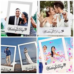 Wedding Day Rose Flower Hearts Selfie Frame Photo Booth Prop Poster Party Decor