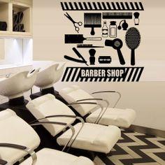 Wall decal vinyl art decor hairdressing hair salon beauty barber shop scissors  comb  hairdryer  perfume (m1101) on Etsy, $28.99