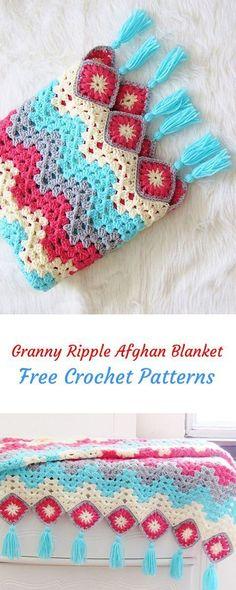 Granny Ripple Afghan Blanket Free Crochet Pattern #crochet #yarn #crafts #homemade #handmade #homedecor #crochetafghans