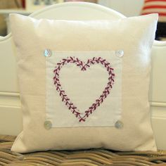 This Leaf Heart cushion can be embroidered with a short message inside the heart - The Alphabet Gift Shop Ltd