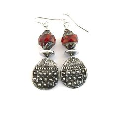 Checker Texture Rustic Earrings OOAK Gypsy by CinLynnBoutique