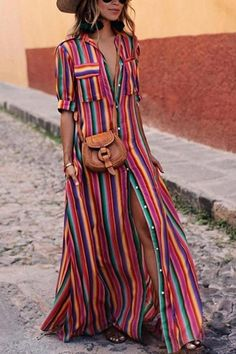 Button Down Collar Stripes Roll Up Sleeve Half Sleeve Maxi Dresses #wardrobeessentia #summerfashion affiliate #boho #gypsy