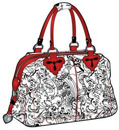 white handbag with black print, orange coloured handles and zip