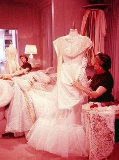 Helen Rose working on Grace Kelley's wedding dress at MGM Studios