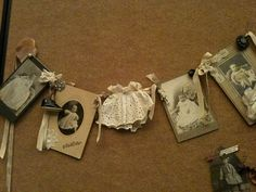 sweet idea: old photos garland with old book covers