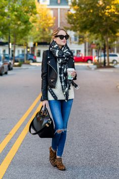 Little Blonde Book by Taylor Morgan   A Life and Style Blog : Scarf and Leather