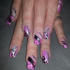 Purple pink black rhinestones white French tip nail designs art