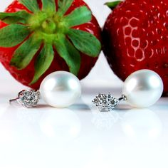Diamond 'Flower' Studs with South Sea Pearl Drops from Coleman Douglas Pearls