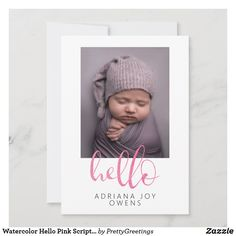 Watercolor Hello Pink Script Photo Collage Baby Announcement Baby Girl Birth Announcement, Birth Announcement Photos, Birth Announcements, Baby Girl Photos, Custom Cards, Paper Texture, Baby Girl Newborn, Script, Collage