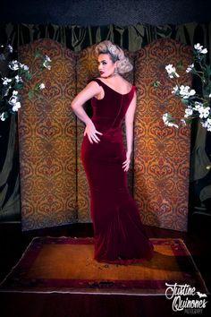 Laura Byrnes California Gilda Gown in Burgundy Velvet