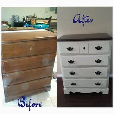 Refinished dresser- Annie Sloan Old white for the base and jacobean stained top
