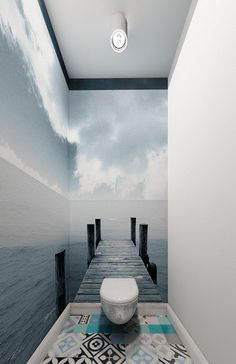 Effective wall and room design with photo wallpaper- Effektvolle Wand- und Raumgestaltung mit Fototapete matching bathroom tiles and wall wallpaper for effective room design of the small toilet -