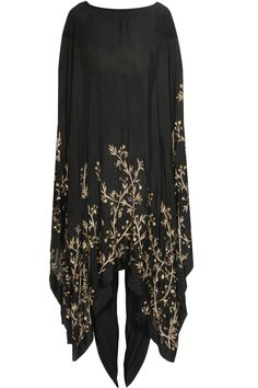 Black leaf embellished cape with dhoti pants available only at Pernia's Pop Up Shop.#pratyushagarimella #newcollection #festive #designer #clothing