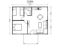 plano casa dos dormitorios cocina comedor baño 60 metros 2 - Buscar con Google