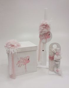 Flamingo Baby Baptism, Christening, Godchild, Some Ideas, Little Star, Decorative Boxes, Place Card Holders, Baby Shower, Pink