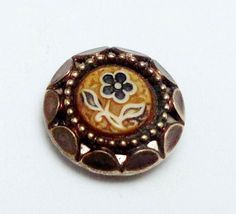 ANTIQUE TEENY TINY METAL BUTTON w CELLULOID CENTER FLOWER & TWINKLE BORDER 3/8""